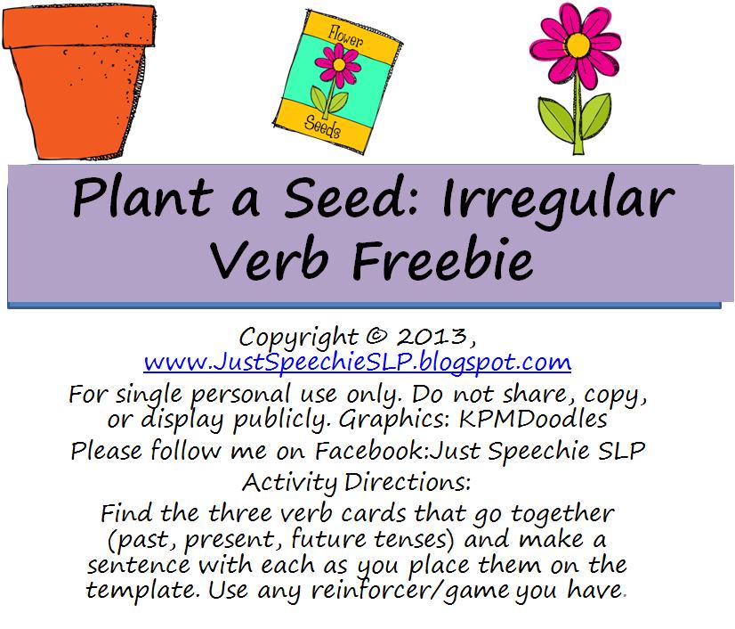 Just Speechie SLP: Plant a Seed: Irregular Verb FREEBIE!