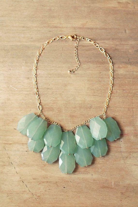 Aqua Mint Statement Necklace - Mint Bib Necklace