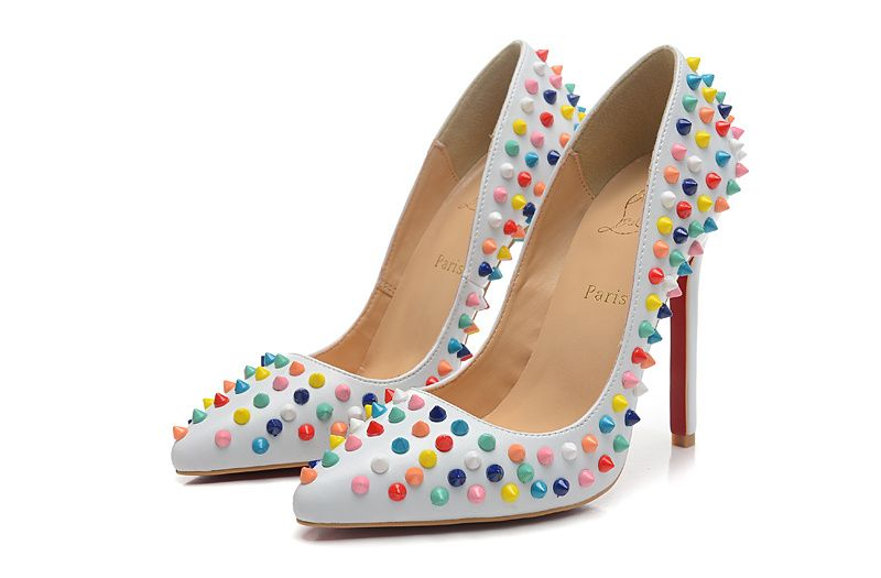 Christian louboutin Pigalle Spikes Gomme 120mm Leather White