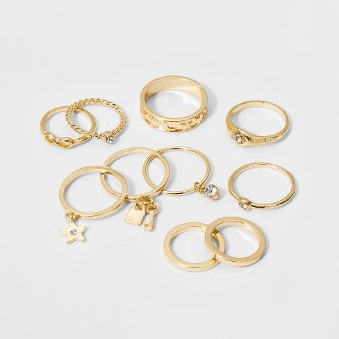 Single Ring with Circle and Key Ring Set 10ct - Wild Fable