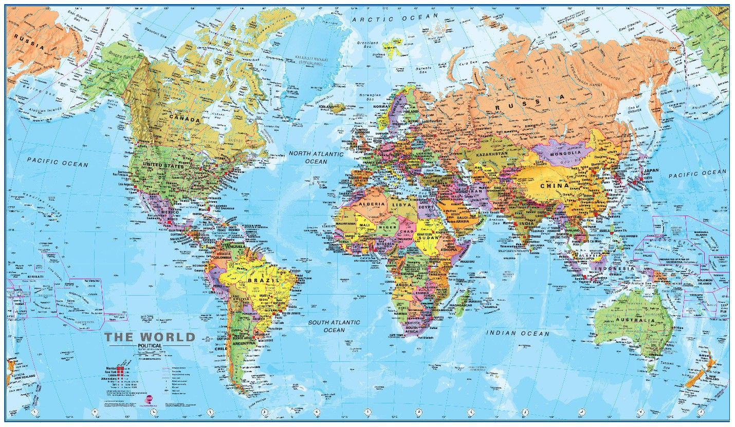 Free Hd Political World Map Poster Wallpapers Download
