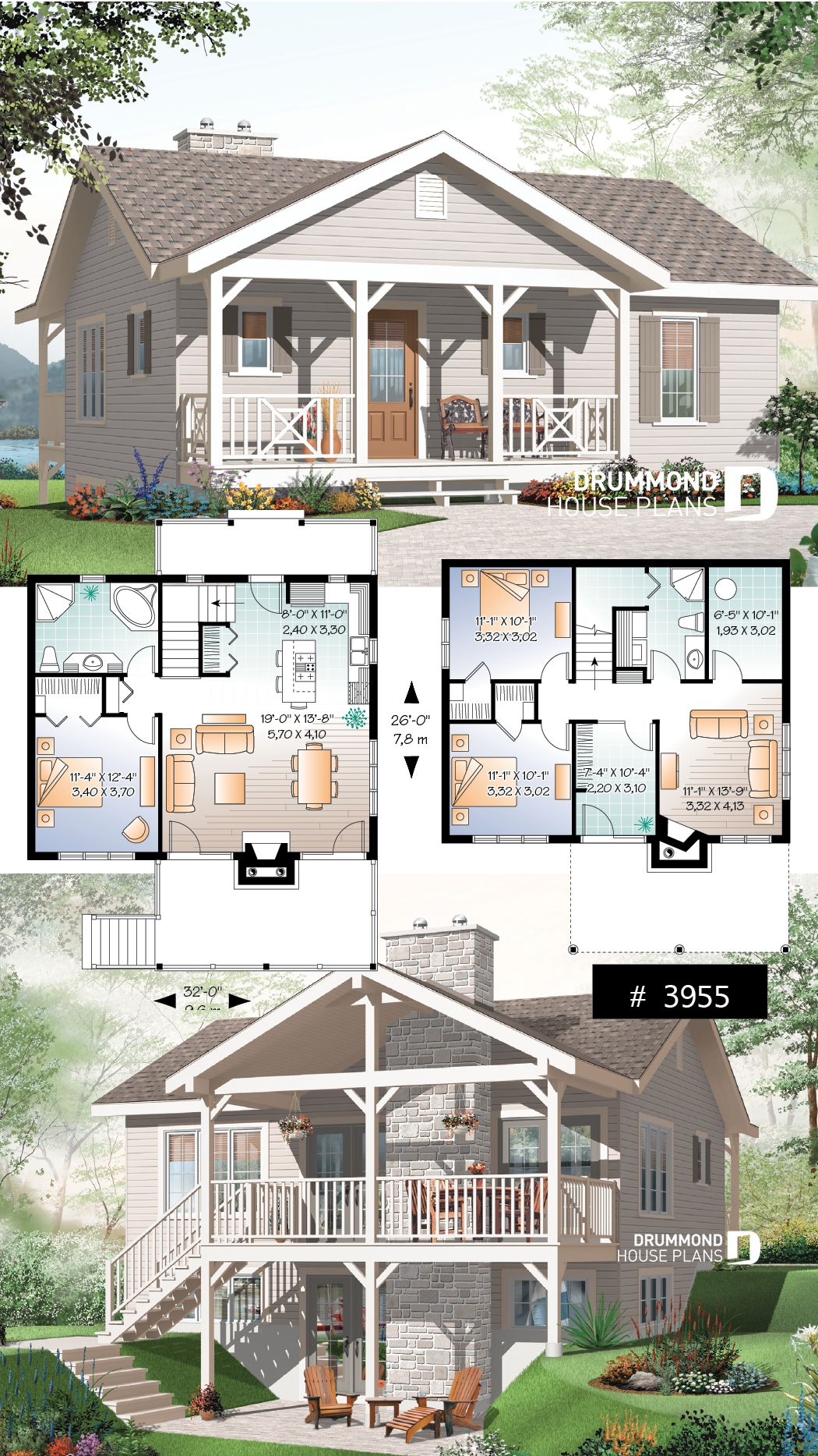 Discover The Plan 3955 Leslie Which Will Please You For Its 1 2 3 Bedrooms And For Its Mountain Styles House Plans Sims House Design Cottage House Plans