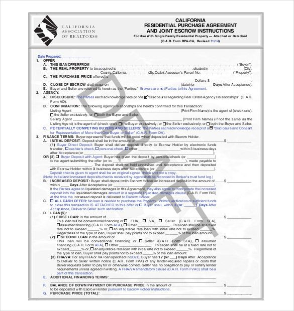 Purchase Agreement Template Purchase Agreement Template Free