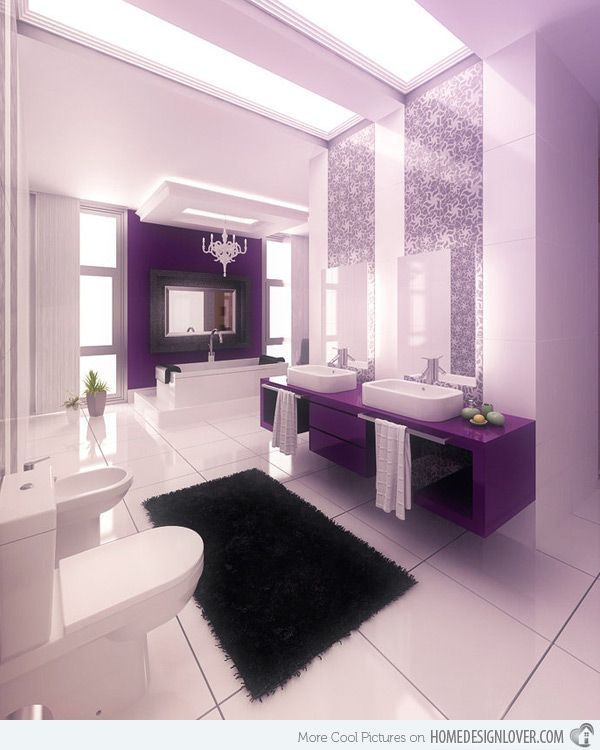 15 Majestically Pleasing Purple And Lavender Bathroom Designs