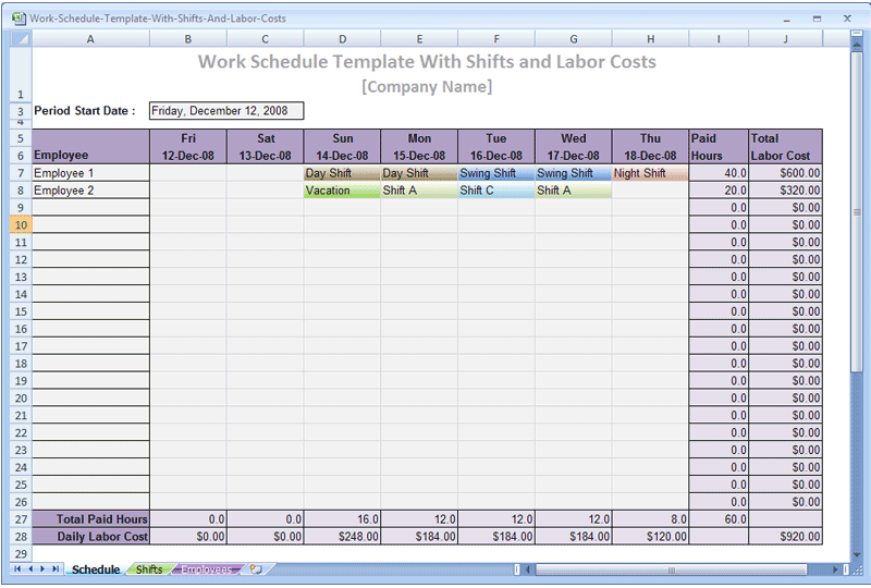 An excel scheduling template designed to let you create for 3 shift schedule template