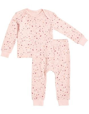 Petit Lem   Size 6M 2-Piece Splatter Thermal Pajama Set In Pink - Your little one will be warm and cozy each night with this Petit Lem Splatter Thermal Pajama Set. Cut from snug organic cotton with a sweet splatter design, this shirt and legging pairing provides ultimate comfort for sleep and play.
