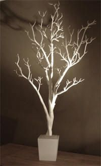 White Fake Tree Decorate My Wedding Brown Faux Crystal With Iridescent