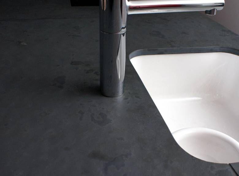 Schiefer Arbeitsplatte unterbaubecken mit blanco armatur in mustang schiefer arbeitsplatte