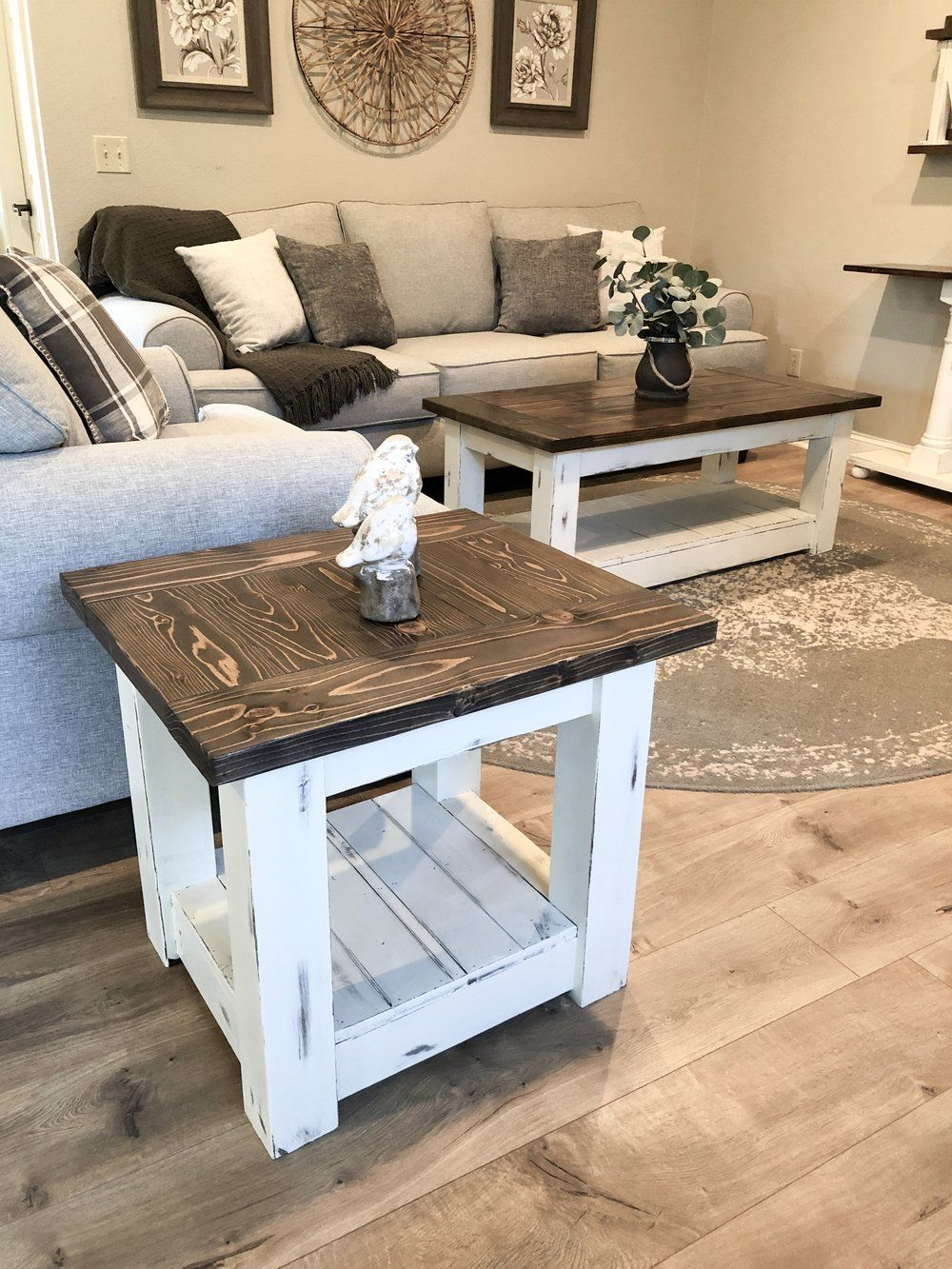 Chunky farmhouse coffee table clean lines distressed 48