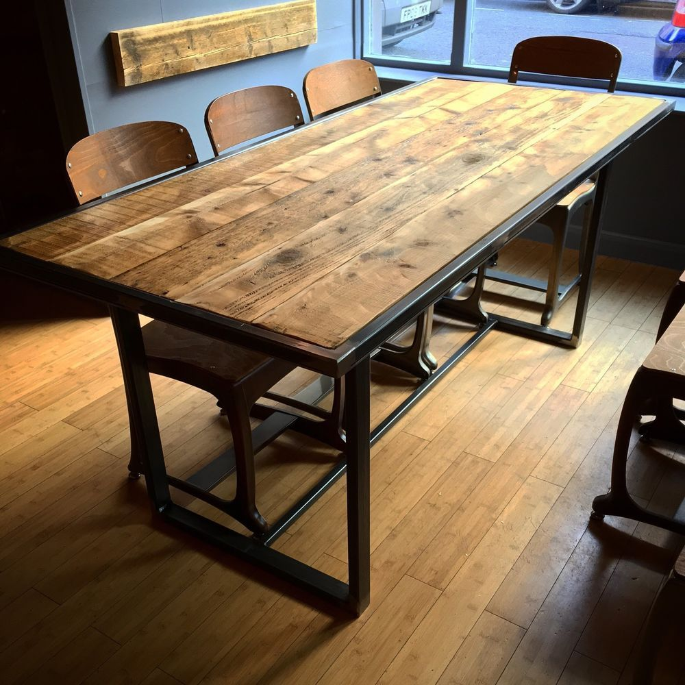 Rustic Metal Steel Industrial Reclaimed Scaffold Board Plank Wood Dining  Table | EBay