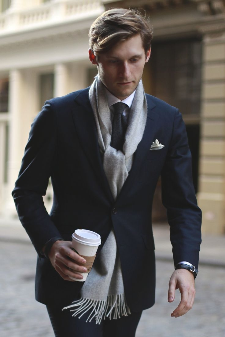 winter layering, suit + scarf // menswear style + fashion