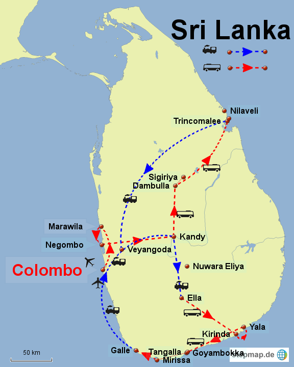 Carte Sri Lanka Nilaveli.Sri Lanka Reiseroute 4 Wochen Srilankaphotography