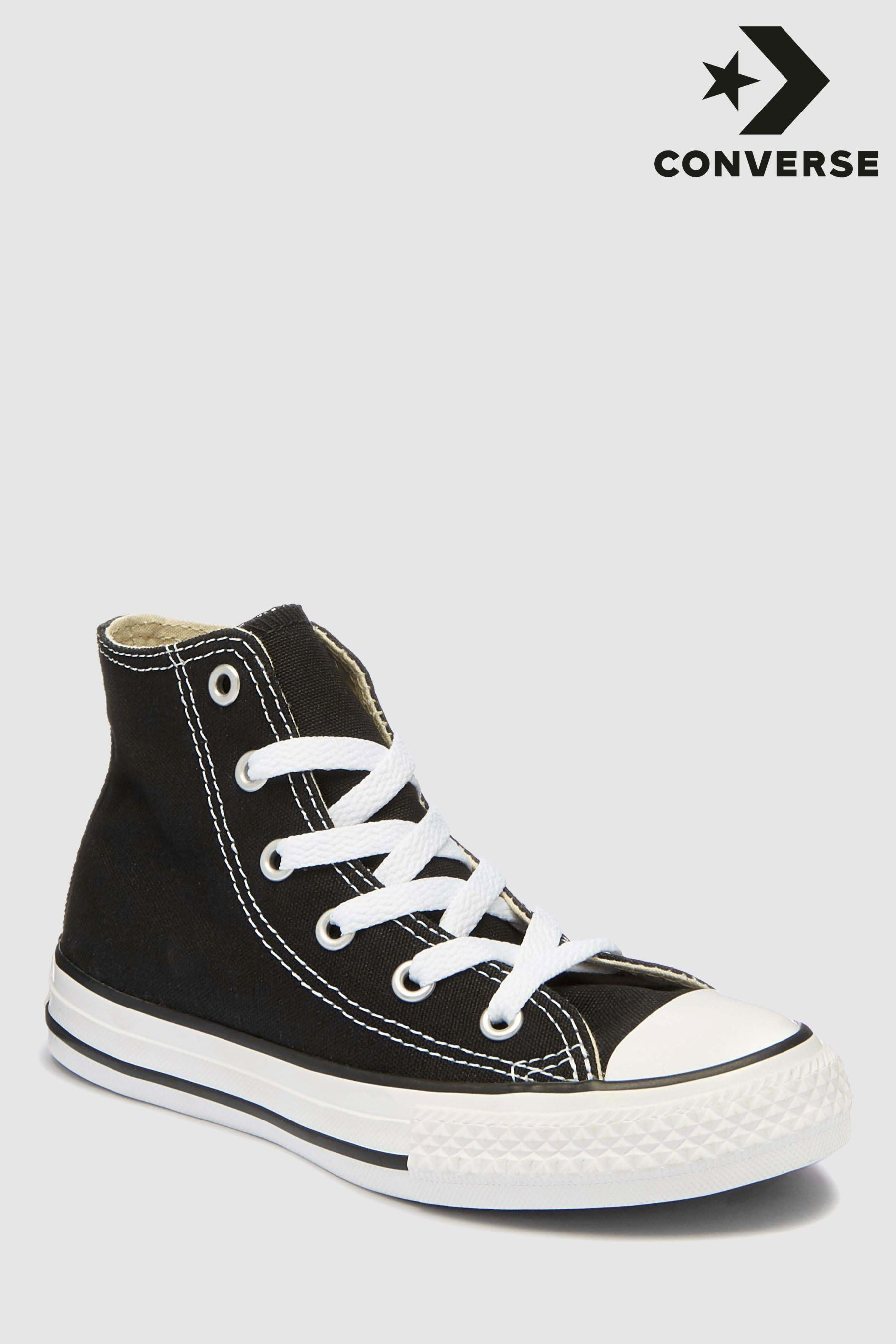 converse black all star hi trainers junior