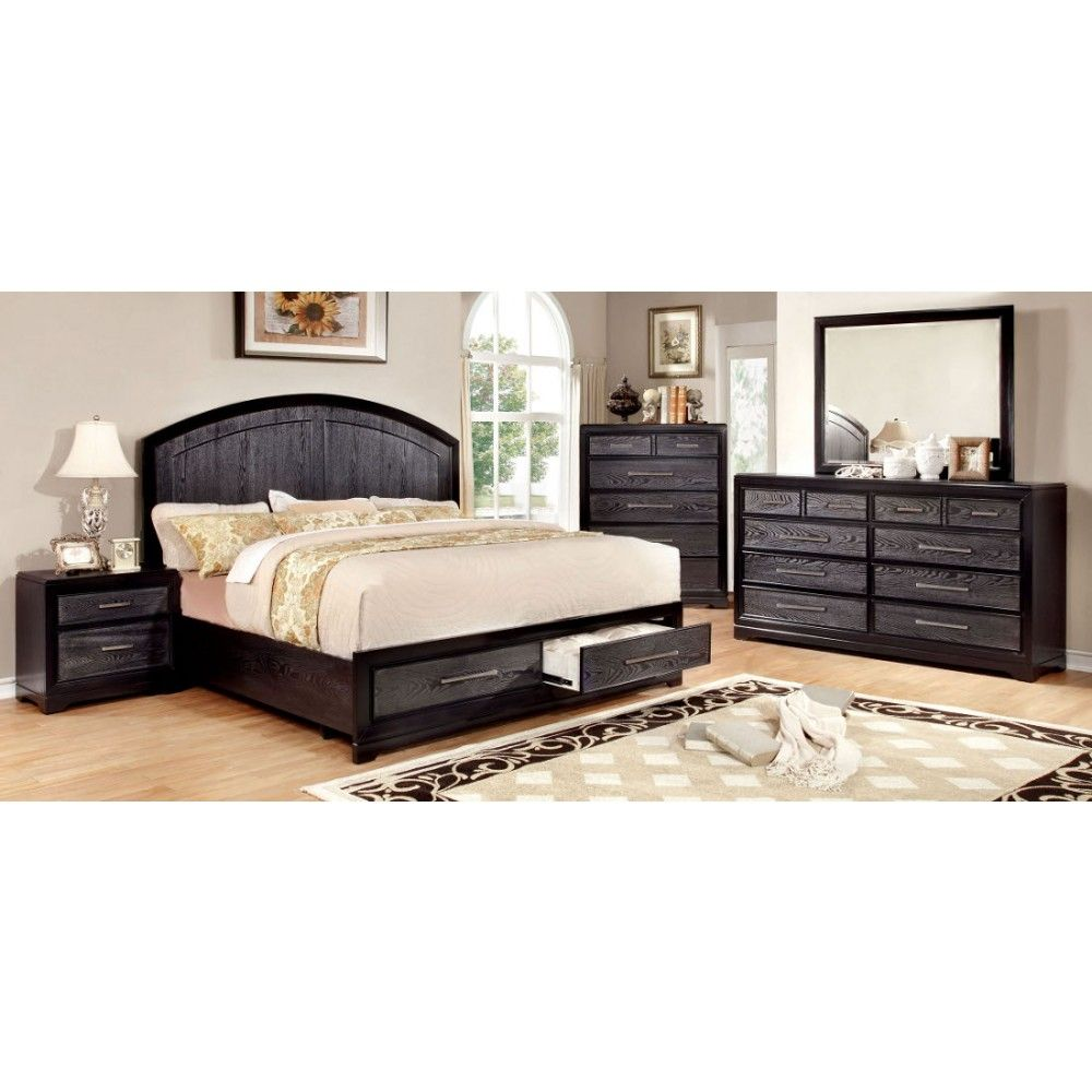 Furniture Of America Bridger Bedroom Set In Two Tone Gray And Black Finish