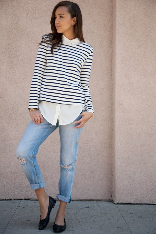 Jeans: H&M (get the look here). Shirt: Equipment.Ballet Flats: Chanel (get the look here).Breton Top: Petite Bateau. I love heels (the higher the better!) but a good pair of ballet flats are essential