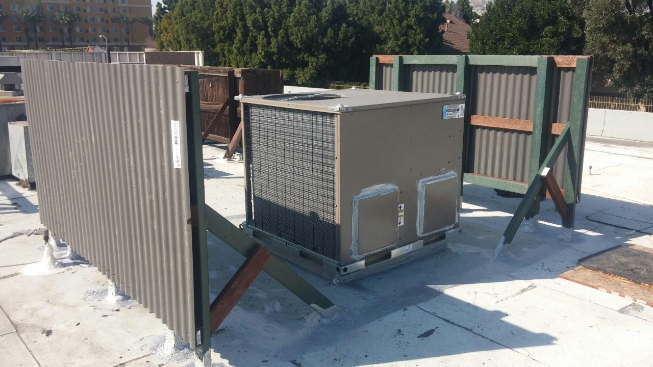 Commercial Rooftop Installation Plus Protective Fencing Furnace Repair Hvac Services Carrier Furnace
