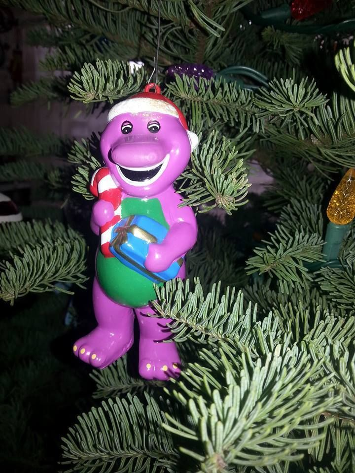 barney the purple dinosaur christmas ornament santa candy cane plastic 1992