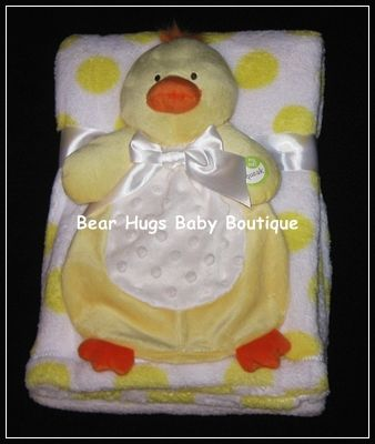 Duck with Squeaker and White with Yellow Dots Baby Blanket Gift Set. #duck #blanket #polka #dot #gift