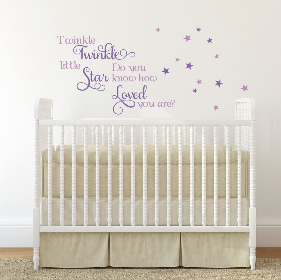Quote twinkle little star decal decals for walls little girl decal