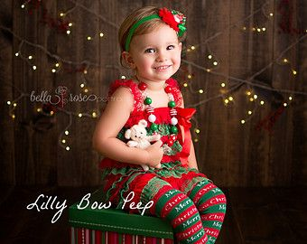 5f0d92836bb53 SET-Red & Green Lace Petti Romper-Flower Headband-Christmas Outfit ...