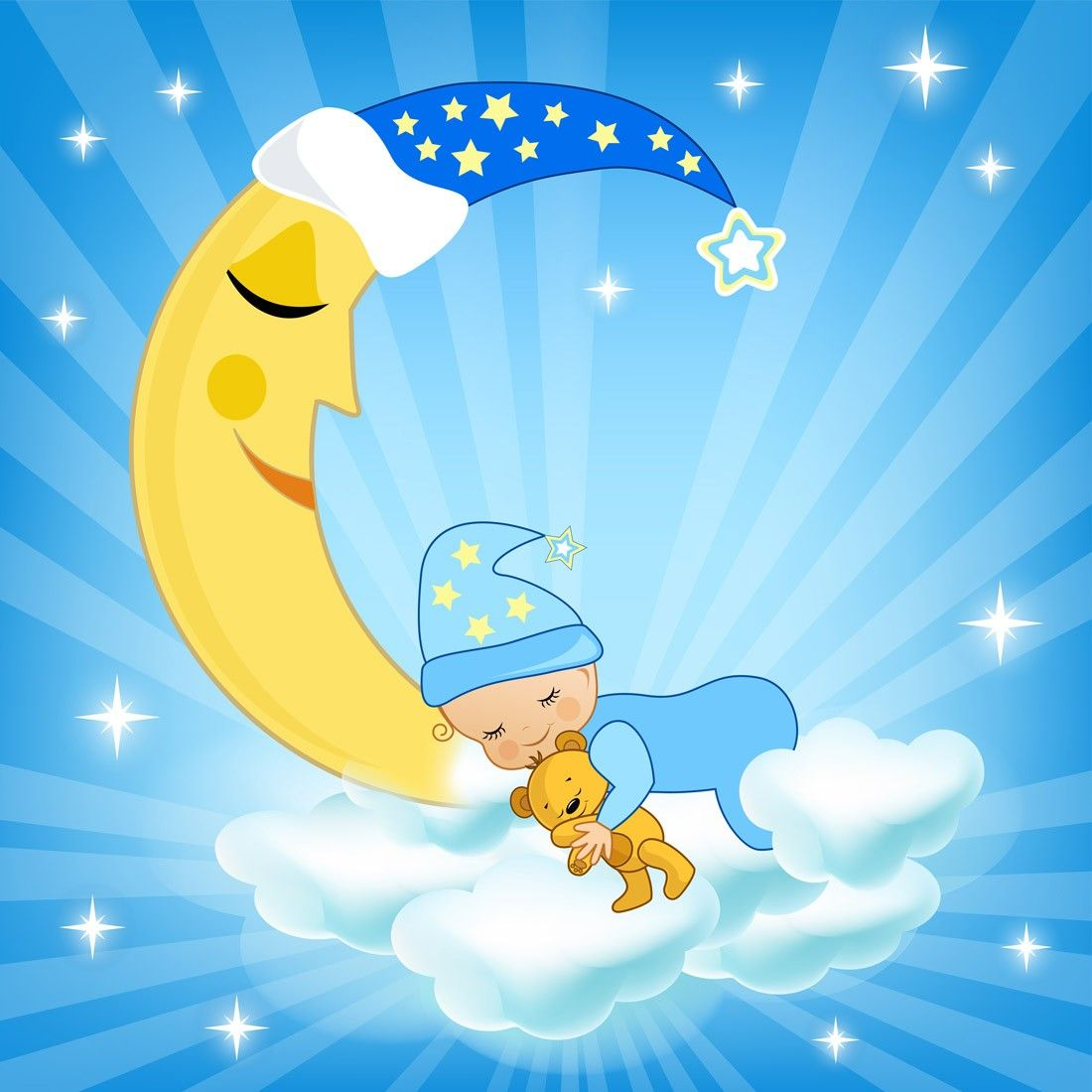 Baby on the moon wall mural wall murals and baby on the moon wall