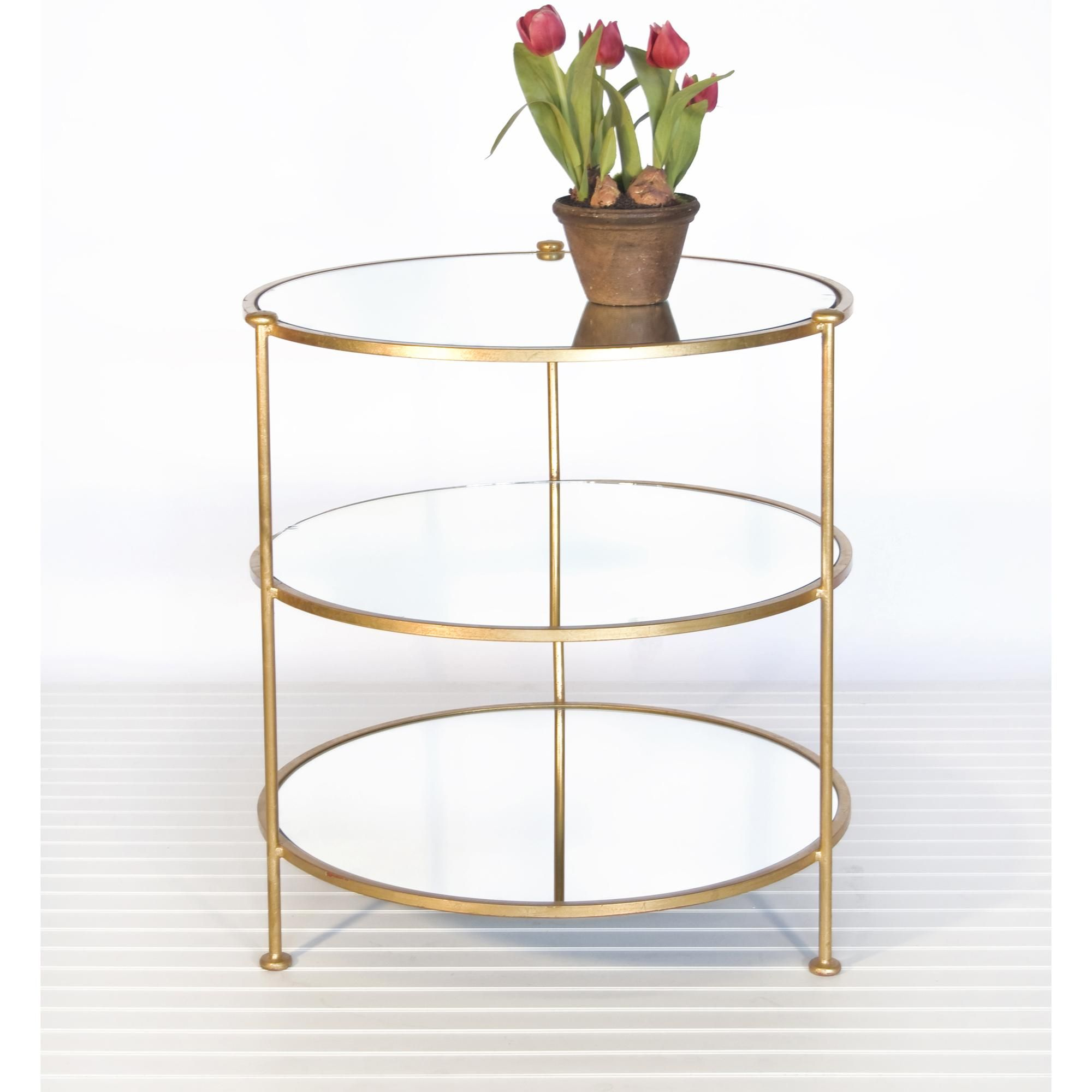 Worlds Away 3 Tier Gold Leafed Table With Plain Mirrored Shelves Contemporary Side Tables Leaf Table Mirror With Shelf