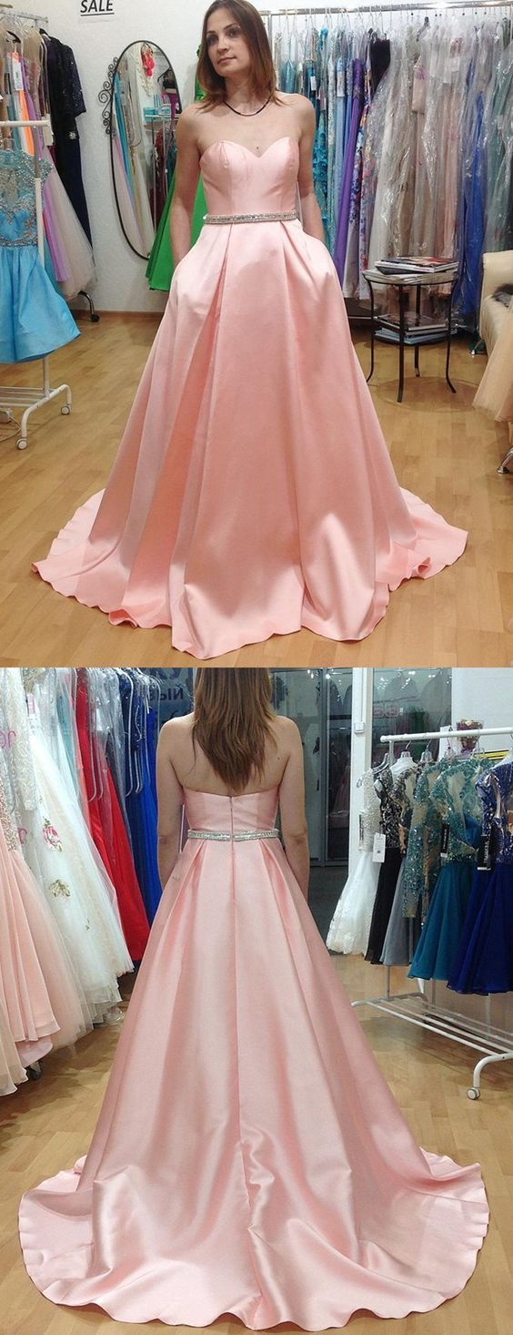 Aline sweetheart sweep train pink pleated prom dress with beading