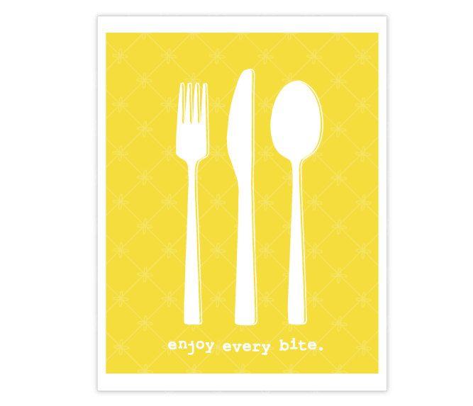 Enjoy Every Bite - Cutlery - Food - Yellow Kitchen Wall Art Print ...
