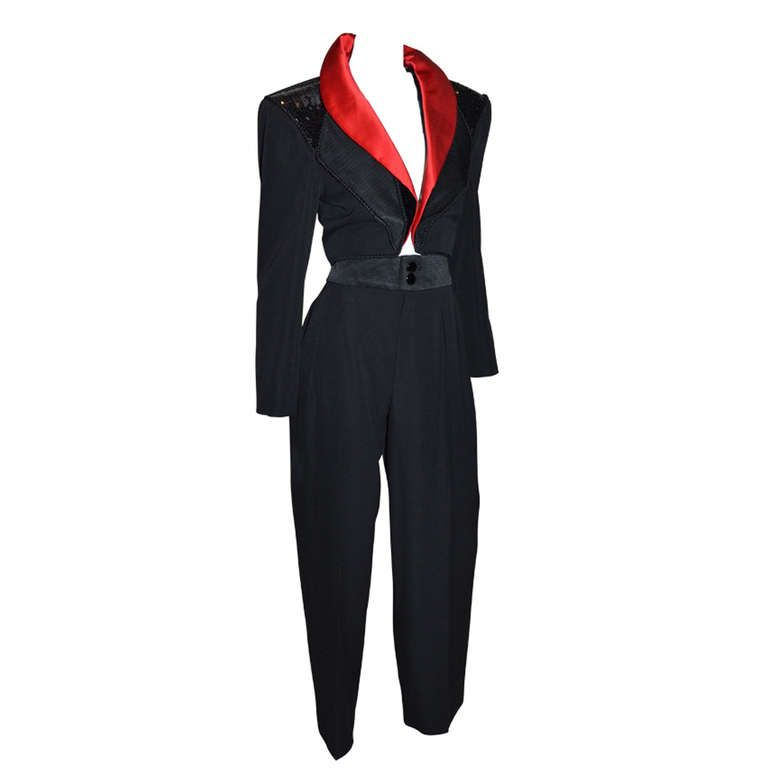 5faf11e0161 View this item and discover similar trouser pant suits for sale at 1stdibs  - Yves Saint Laurent Early 1980's Vintage YSL Le Smoking Tuxedo Cropped  bolero ...