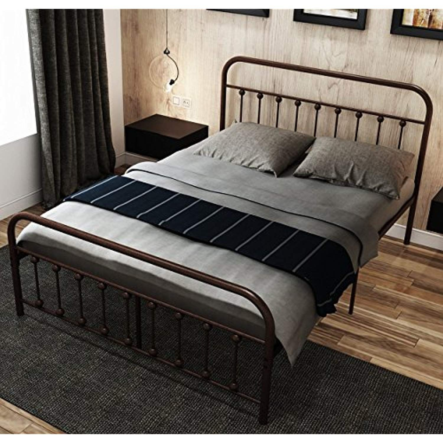 Metal Bed Frame Queen The Simple Style Iron Art Double Bed Has The Metal Structure Metal Tube And Antique Brown Bed Frame Metal Bed Frame Metal Bed Frame Queen