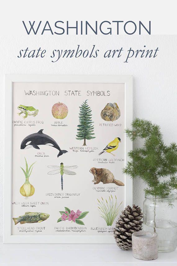 Washington State Symbols Art Print / Washington State Art / State Symbols Art / Pacific Northwest Art / Seattle Art / Washington Art Print