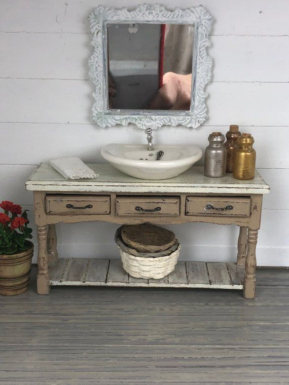 Miniature Bath Vanity, Miniature Sink, Dollhouse Sink, Dollhouse Vanity, Miniature Furniture, Dollhouse Furniture, Shabby Chic Dollhouse #miniaturefurniture