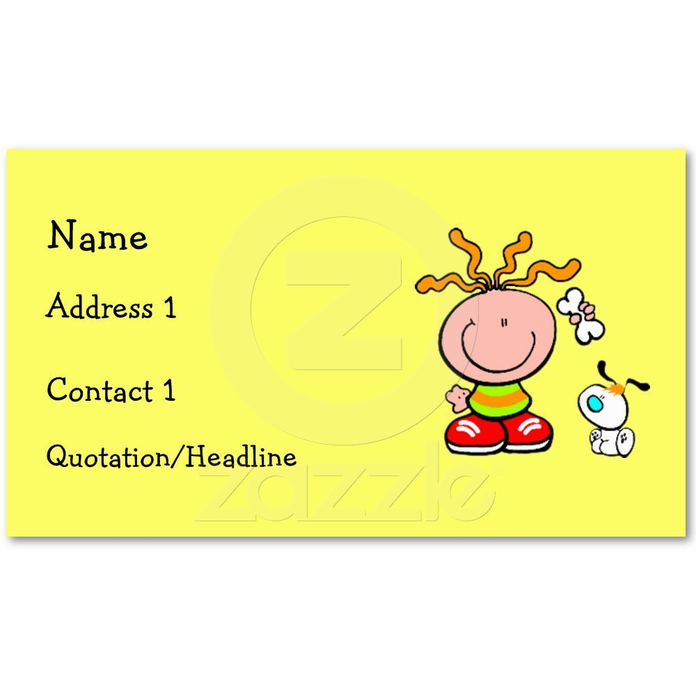Cartoon Boy Feeding Dog Business Card From Zazzle Com
