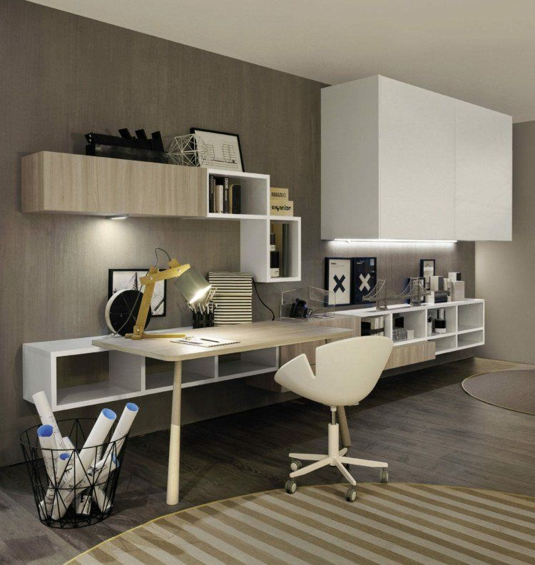 am nagement de bureau moderne dans un salon design. Black Bedroom Furniture Sets. Home Design Ideas