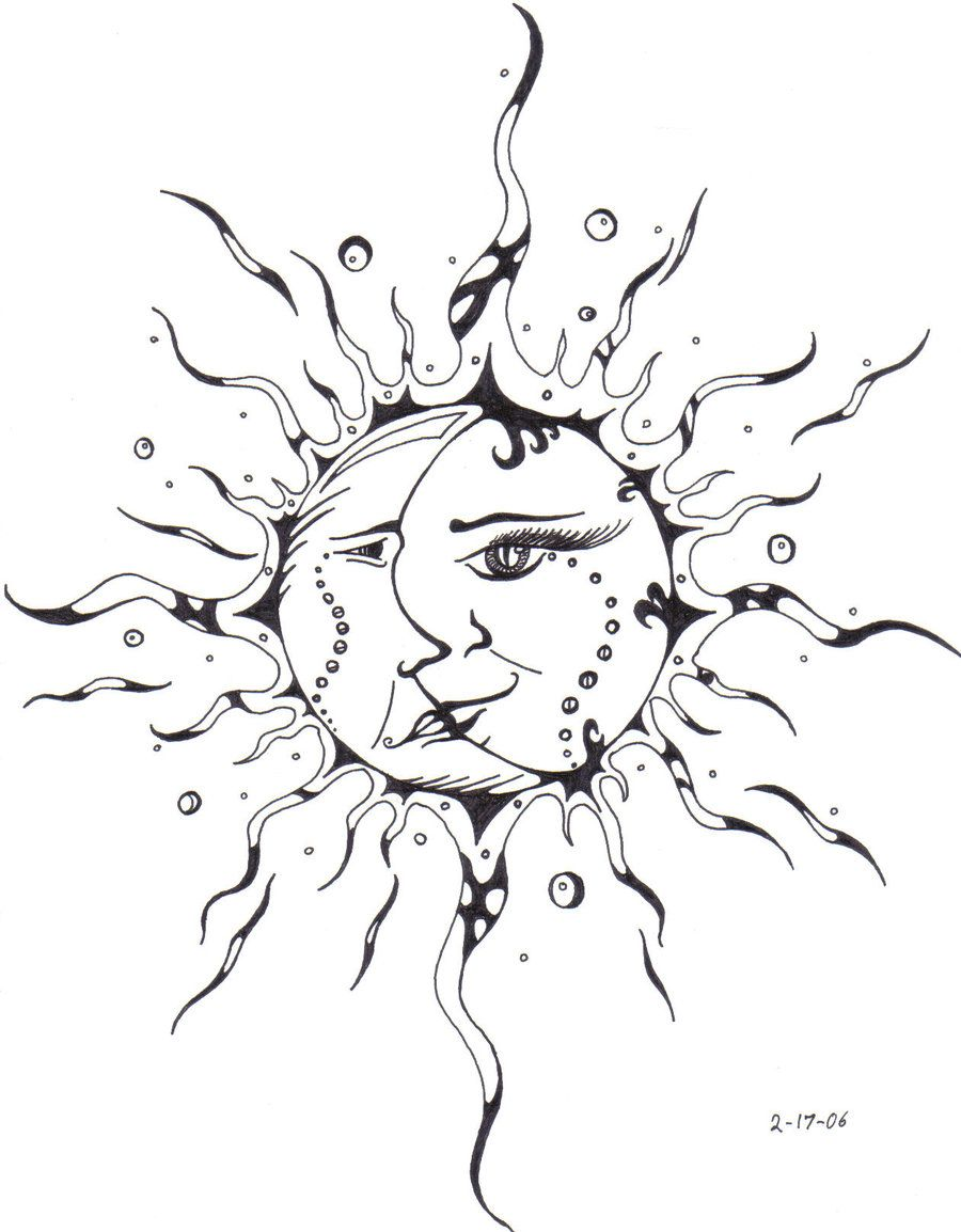 hazel-thorn // #sun #moon #art #sketch #design #pencil #tattoo  |Sun And Moon Design Drawing