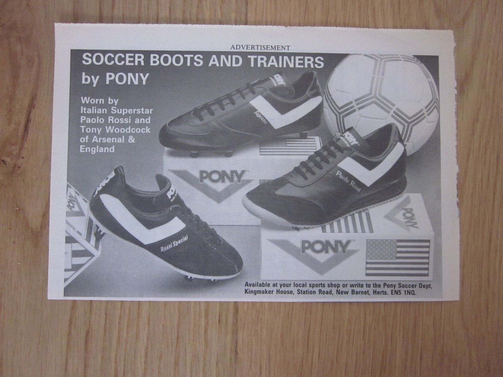 0bb87cb0ffd PONY Football Boots - Original vintage magazine advert