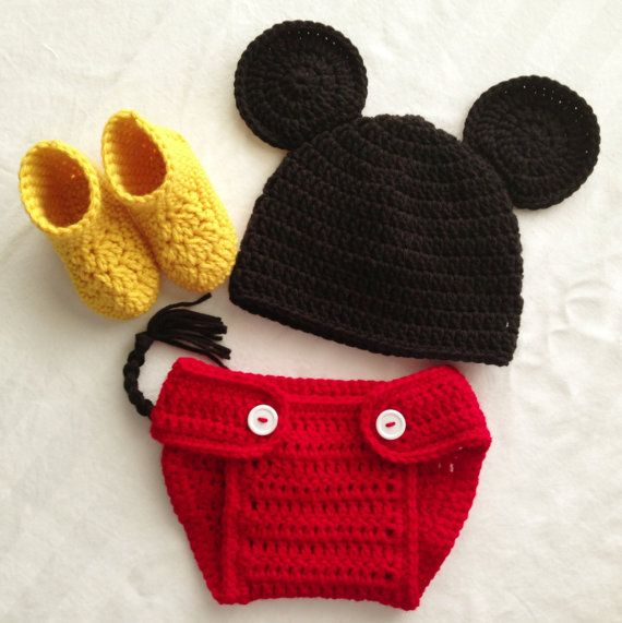 Mickey Mouse Crocheted Newborn Boys Photo Prop Set :) getting this ...