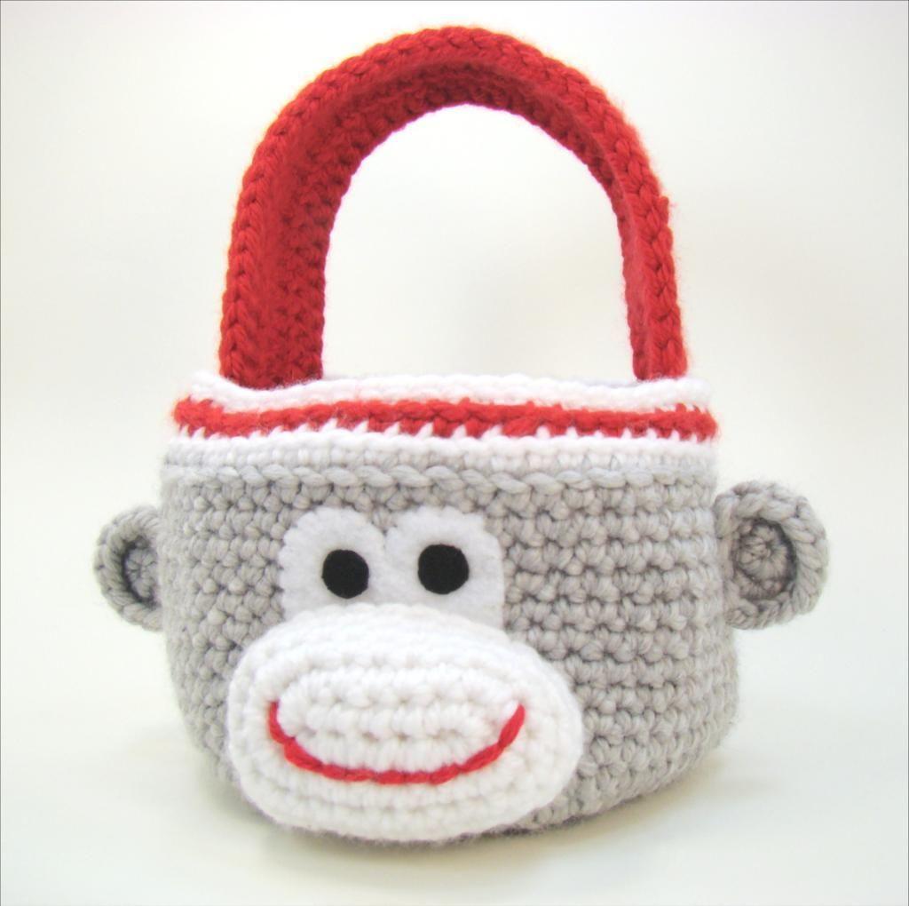 Sock Monkey Basket | Trapillo, Cesto y Canastilla