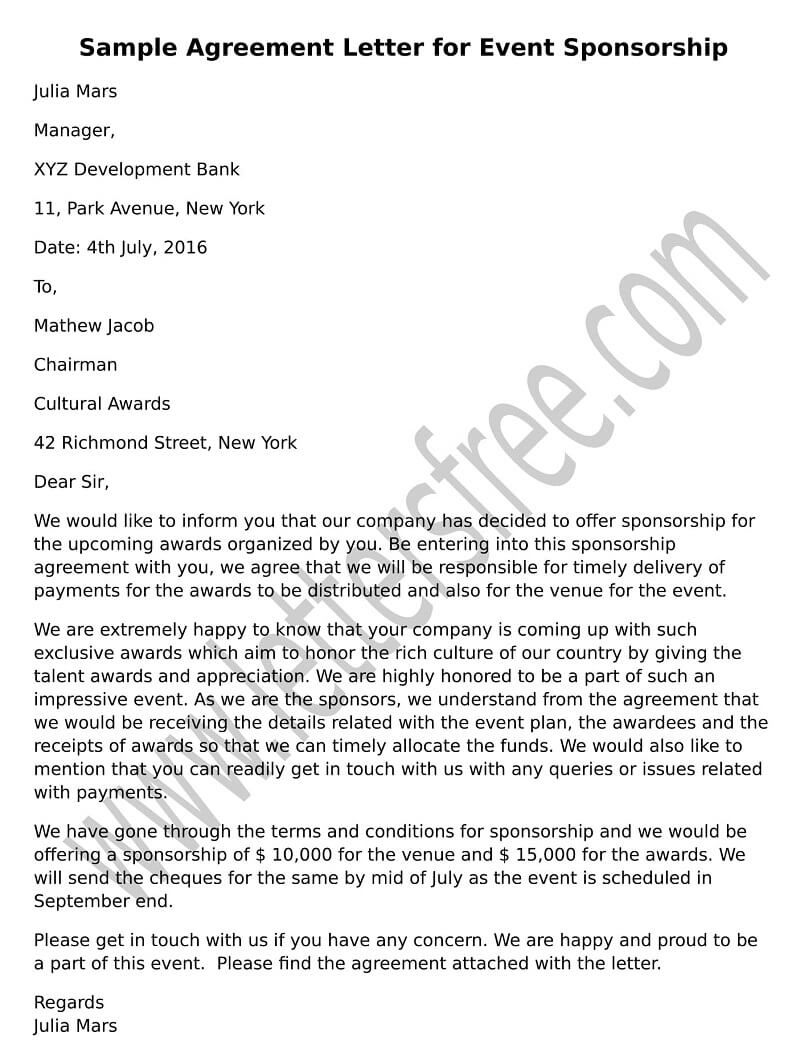 Professional Sample Format Of Agreement Letter For Event Sponsorship To  Write To The Organizing Committee Offering  Event Sponsorship Agreement Template