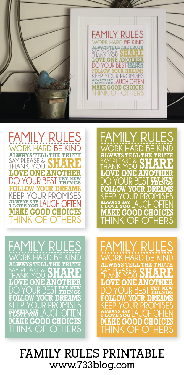 Family Rules Frameable Printable | Family rules printable, Family ...