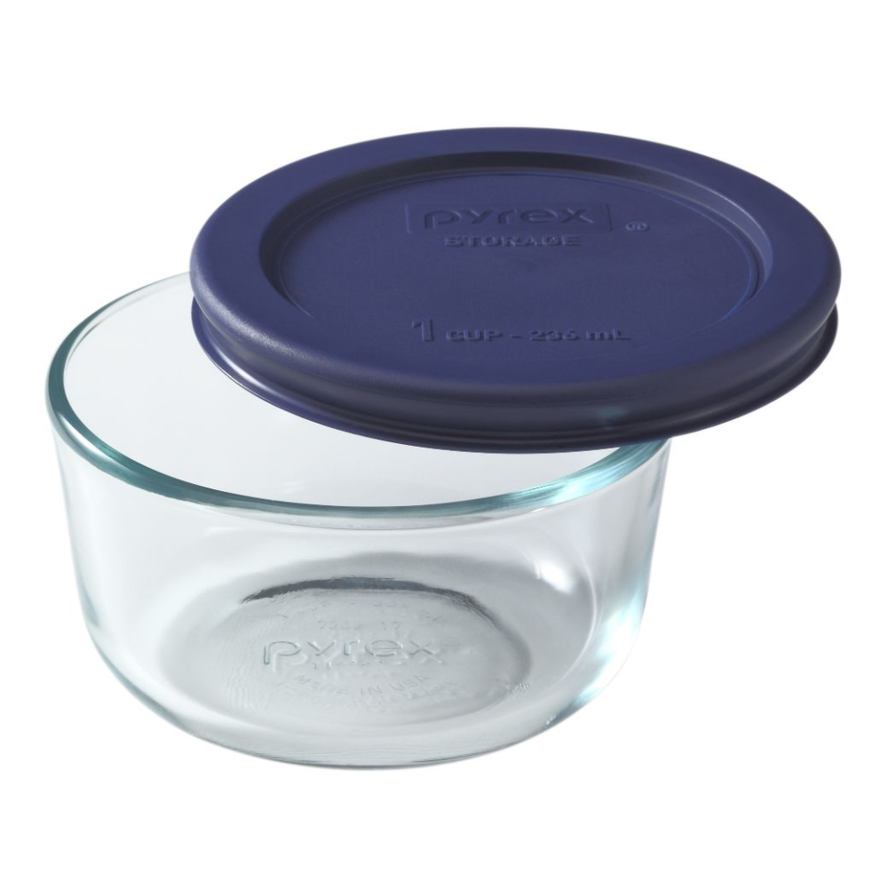 1 Cup Glass Food Storage Container With Blue Lid Pyrex In 2020 Glass Food Storage Containers Food Storage Containers Pyrex Glassware