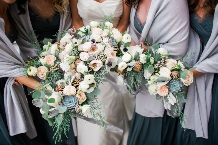 Wedding bouquet + Bride and blue bridesmaid dresses with grey wrap | fabmood.com