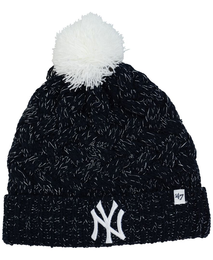 fef0a1e9a17  47 Brand Women s New York Yankees Fiona Pom Knit Hat.