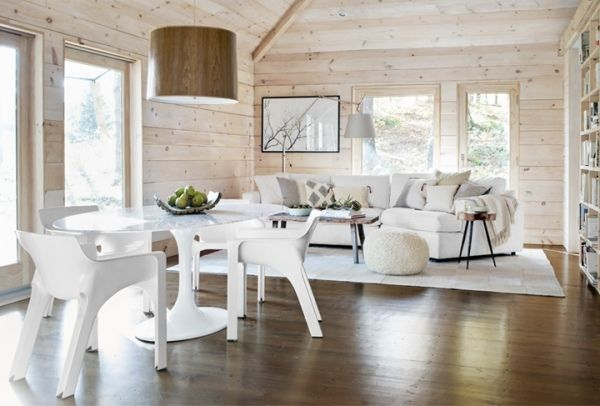 Die Holz Wandverkleidung Innen Naturlich Und Modern Wirken Lassen Wandverkleidung Innen Esszimmer Weiss Moderne Hutten