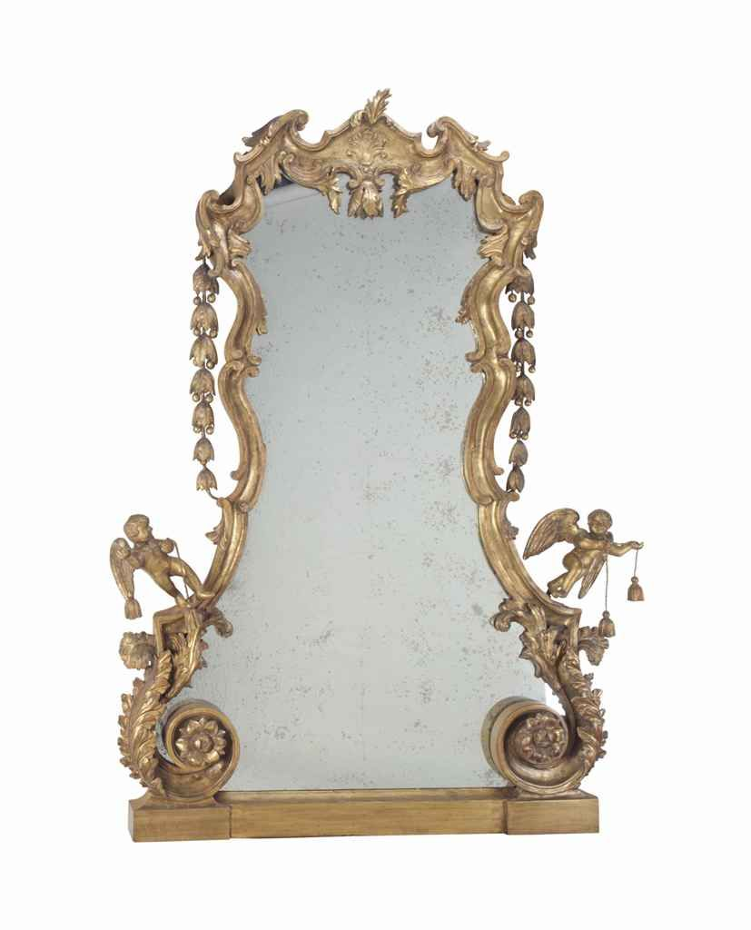 A French giltwood and composition large overmantel mirror, second half 19th Century