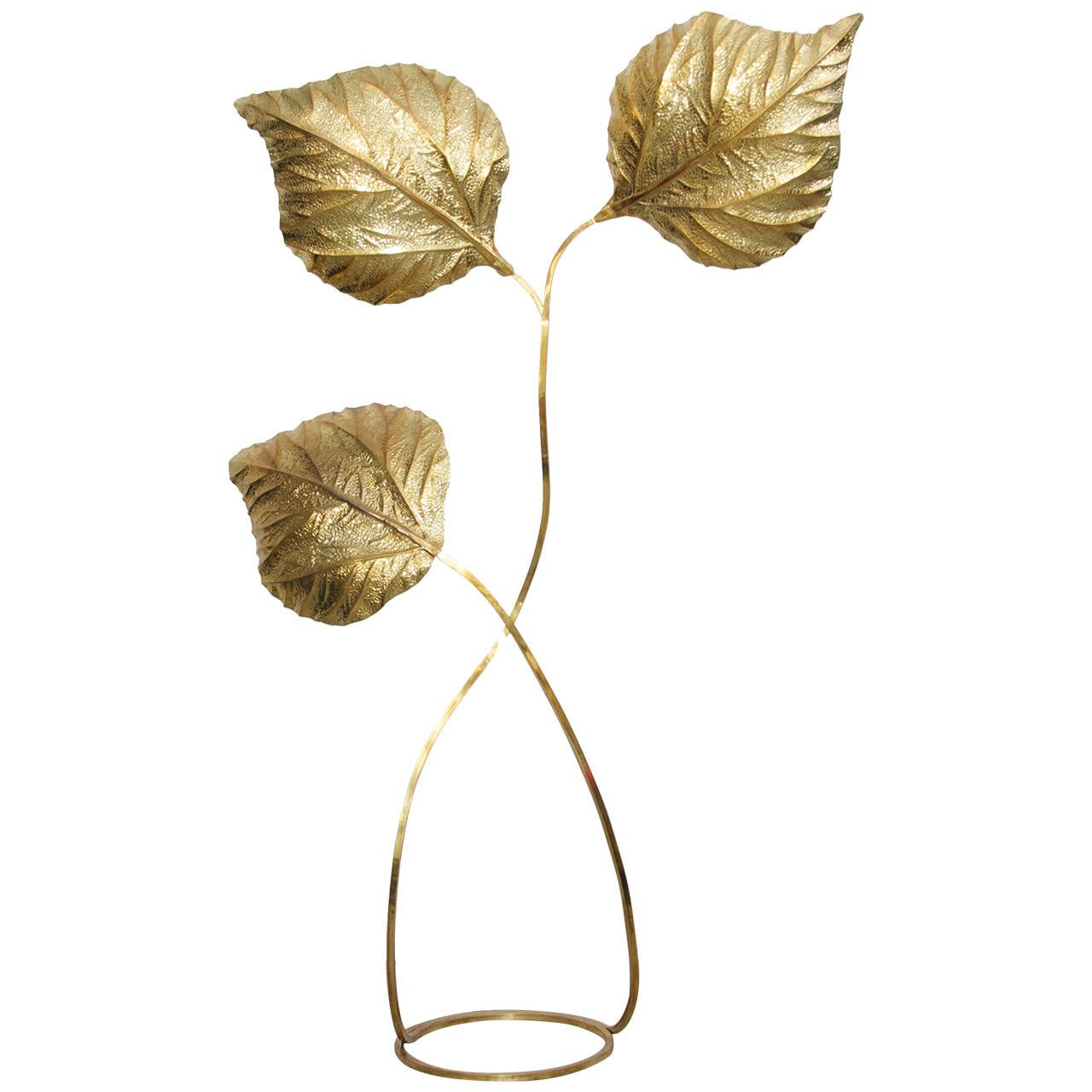 Extraordinary huge rhubarb leaves brass floor lamp by tommaso barbi extraordinary huge rhubarb leaves brass floor lamp by tommaso barbi from a unique collection of antique and modern floor lamps at aloadofball Image collections