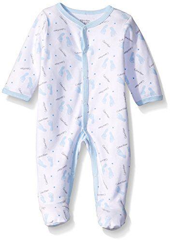aaeab01c462b Calvin Klein Baby Boys Footprint Sleeper Blue 69 Months   Want to ...