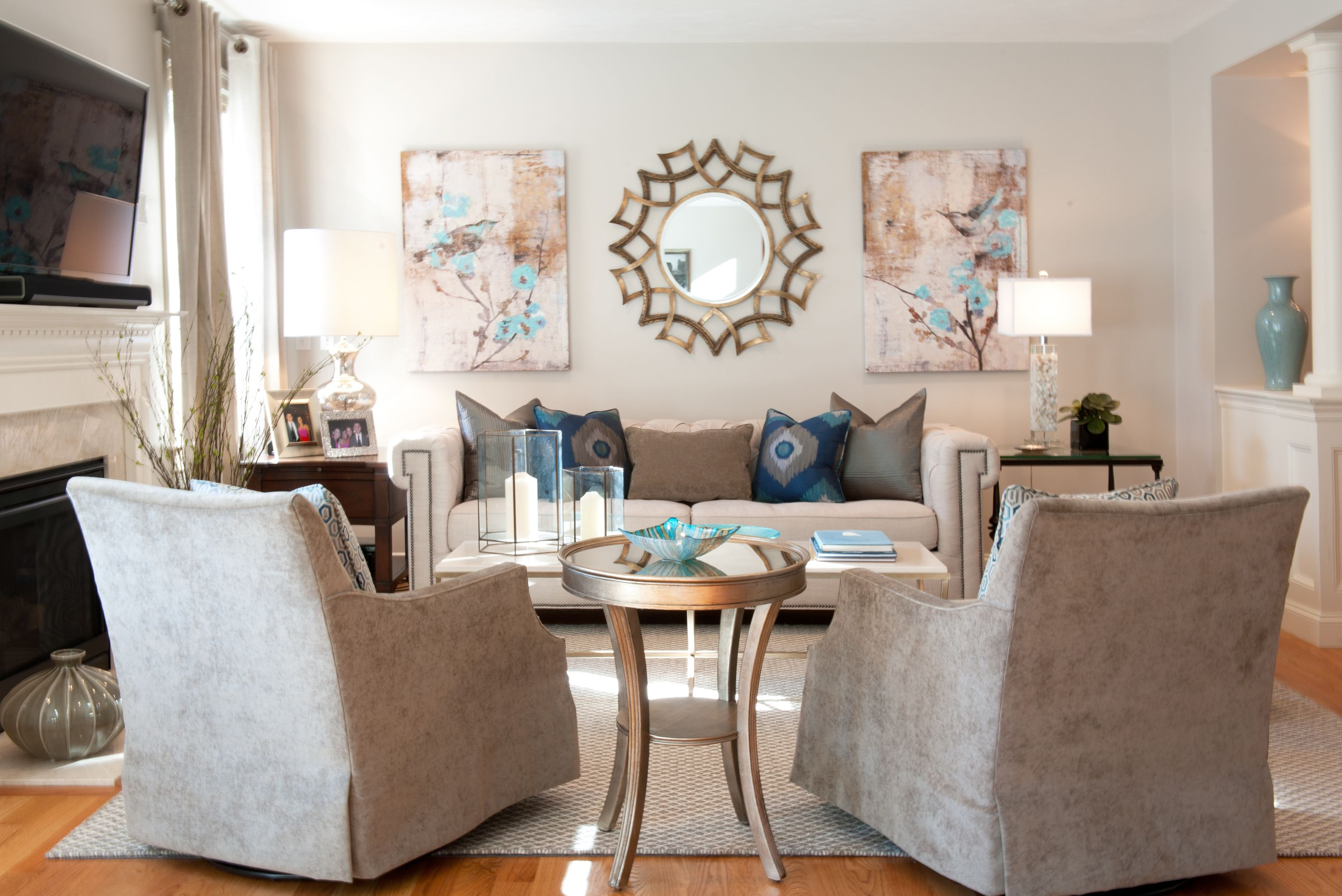 Transitional Living Room Blue and Grey Peacock colors Interior