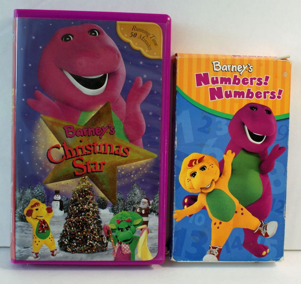 Barney VHS Lot of 2 Christmas Star and Numbers! Numbers