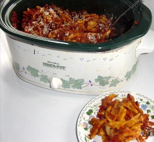 Rigatoni Pasta in the Crock Pot.